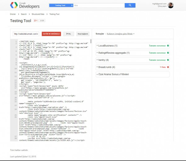 Google-rakenne-tiedot-tulos